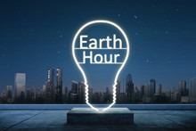 Earth Hour Text Inside Of Ligh...