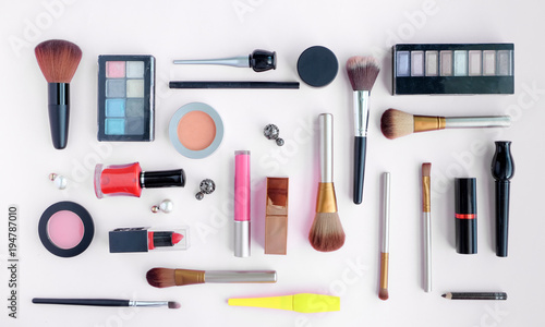 Women's cosmetics bag summer Style fashion of travel accessories on colorful background fashion and beauty concepts.
