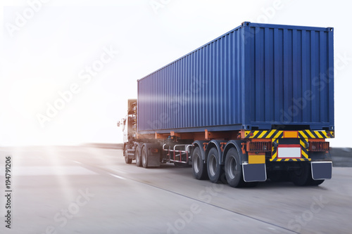Truck on road with container, transportation concept Canvas Print