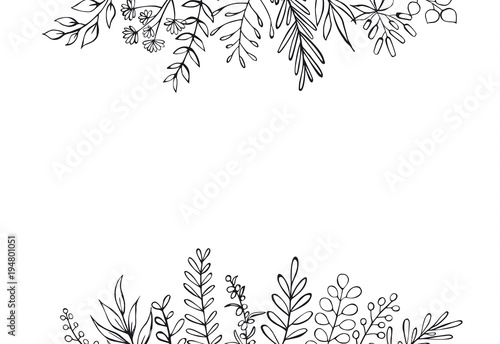 Obraz na plátne black and white floral hand drawn farmhouse style outlined twigs branches header