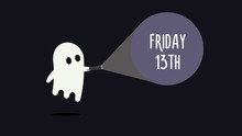 Cute Ghost With His Flashlight Pointing Towards Friday 13th. Vector Background Illustration For Friday 13 Superstition Day