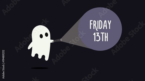 Fotografia Cute ghost with his flashlight pointing towards Friday 13th