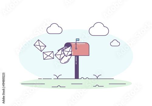 Fototapeta Open mailbox allowing mail envelop letters inside