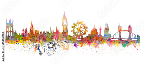 London skyline like a watercolor painting in grunge style Wallpaper Mural