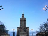 Warszawa, Polska - 15 grudnia 2017: Pałac Kultury i Nauki, znaczący wieżowiec wczesnym rankiem - 194802250
