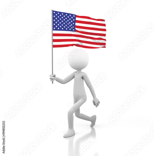 Photo  Small Person Walking with American Flag in a Hand