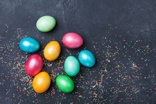 Pearly Colorful Easter Eggs On...