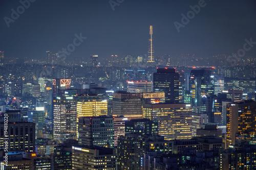 Zdjęcie XXL Seoul skyline w nocy, w Korei Południowej.