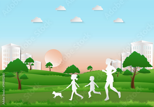 Deurstickers Groene Children to take a dog for a walk and Woman jogging, Paper art, paper cut illustration