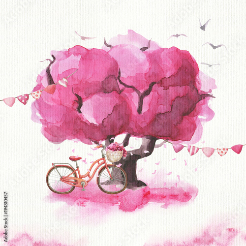 In de dag Candy roze Hand drawn watercolor romantic sakura tree, bicycle and flag garlands. Ready card/poster.