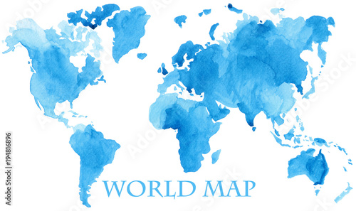 Watercolor illustration of world global map painted in blue ink color splash isolated on white background