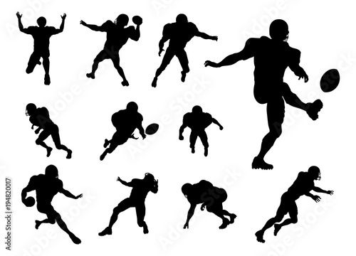 American Football Player Silhouettes Canvas Print