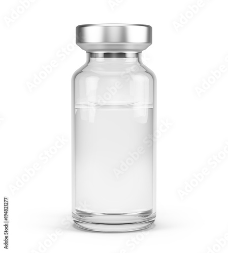Medical vial for injection isolated on white. 3d rendering Wallpaper Mural