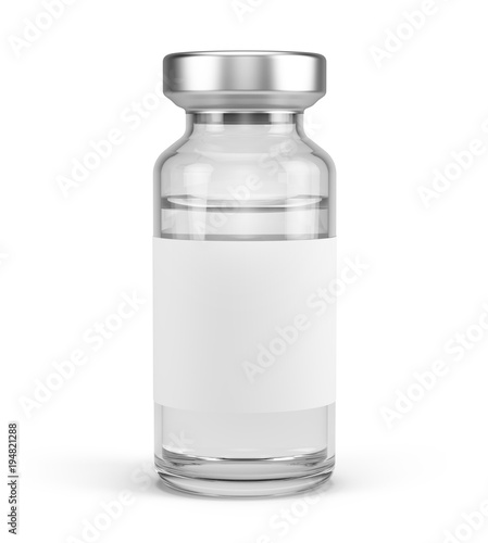 Photo Medical vial for injection with blank label isolated on white
