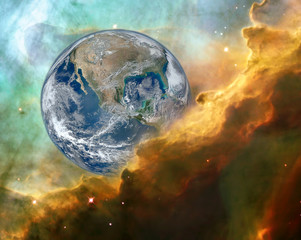 mystic view of Earth in danger concept. Elements of this image furnished by NASA