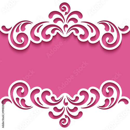 Fotografía  Cutout paper frame with lace border, template for cutting