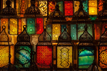 lighting with colors on muslim style's lantern