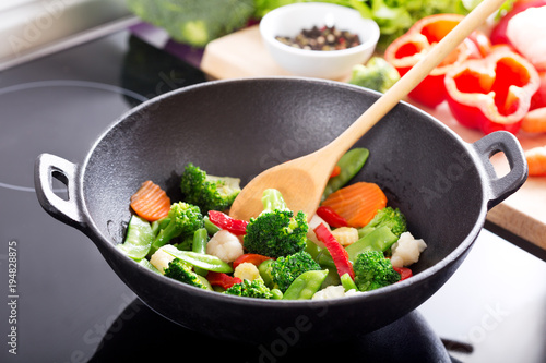cooking stir fried vegetables in a wok Wallpaper Mural