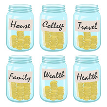 Six Glass Jars With Coins And ...