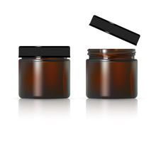 Brown Glass Jar For Cosmetic C...
