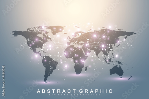 Geometric graphic background communication with World Map. Big data complex with compounds. Perspective backdrop. Minimal array. Digital data visualization. Scientific cybernetic vector illustration.