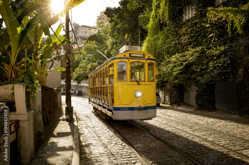 Fototapeta Old yellow tram in Santa Teresa district in Rio de Janeiro, Brazil