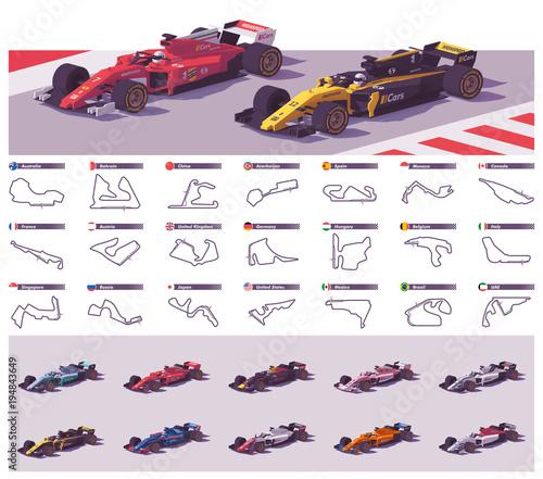 Fotografie, Obraz Vector racing tracks and cars