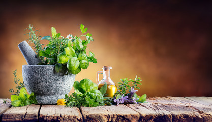 FototapetaAromatic Herbs With Mortar - Fresh Spices For Cooking