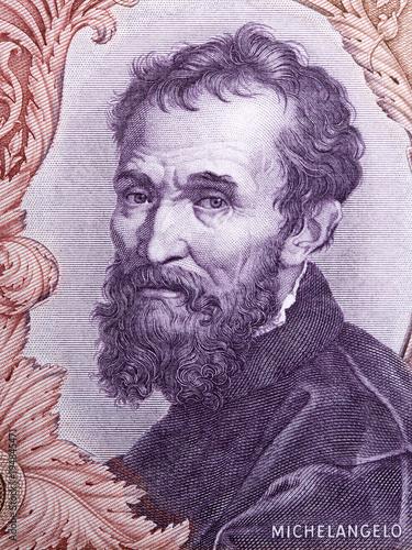 Fotografía  Michelangelo portrait from Italian money