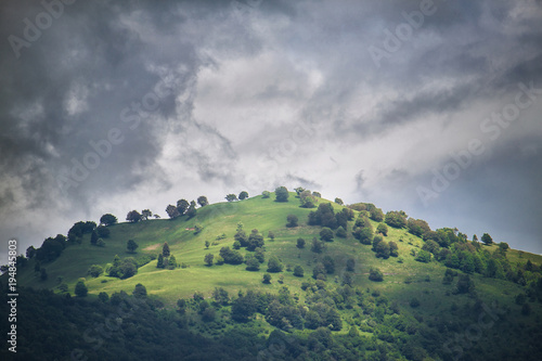 hill with trees and cloudy sky, the storm is coming