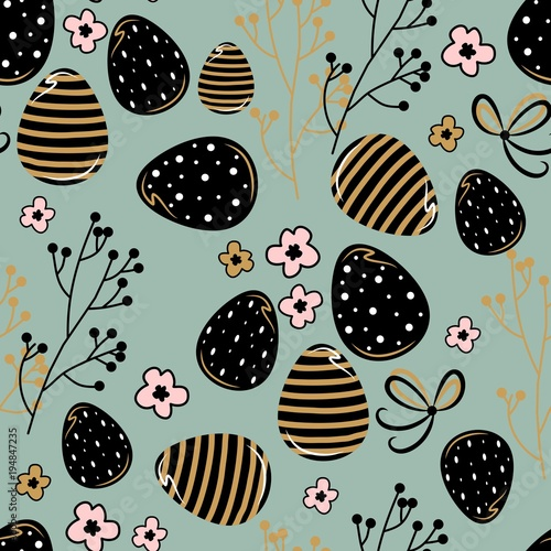 Cotton fabric Seamless pattern with easter eggs. Vector illustration. For textiles, cards, wallpaper.