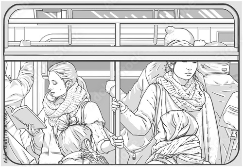 Illustration of crowded metro subway passenger car Poster
