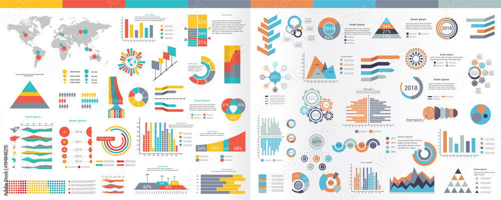 Fototapeta A collection of infographic elements Illustration in a flat style