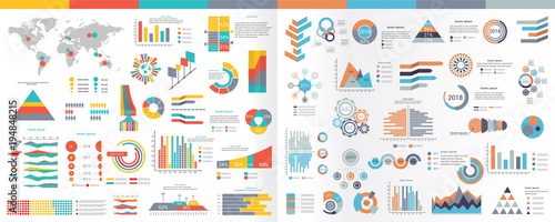 A collection of infographic elements Illustration in a flat style Canvas Print