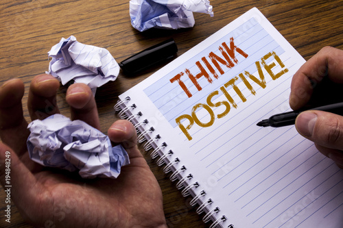 Photo  Word, writing Think Positive