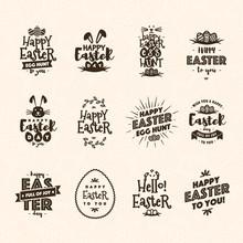 Easter Emblem Set Brown Color ...