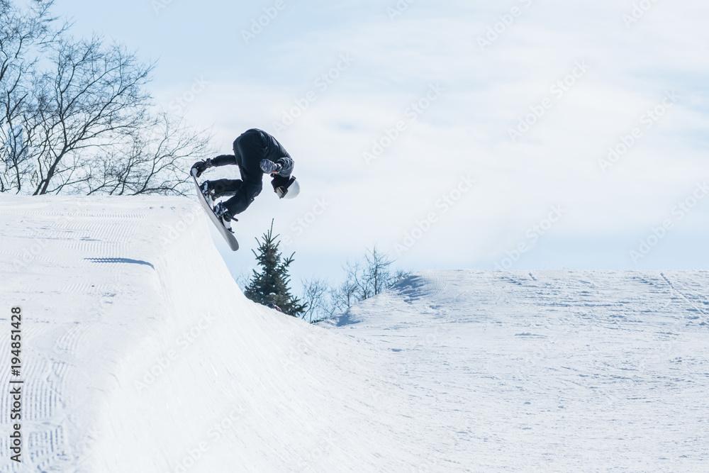 7447918101e People are enjoying half-pipe skiing   snowboarding Poster