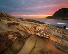 Magical Sunrise At Nanya Rock Formations On The North Coast Of Taiwan Near Keelung.