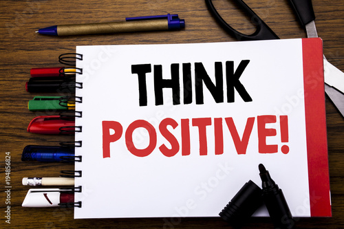Handwritten text showing Think Positive Canvas Print