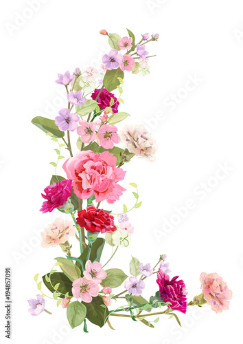 Vertical Card For Mothers Day With Border Of Carnation Spring Blossom Red Pink