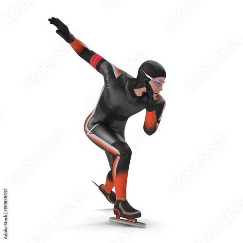 Photo  Speed Skater on white. 3D illustration