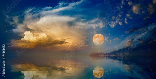 Fotografie, Obraz  Full moon rising above serene sea in sunset sky