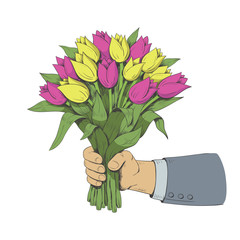 Hand is holding a bouquet of tulips. Vector illustration.