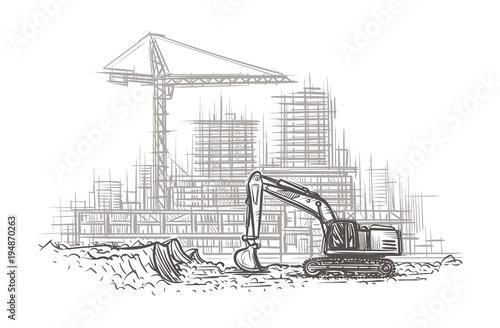 Fototapeta Excavator on construction site hand drawn illustration. Vector.  obraz na płótnie