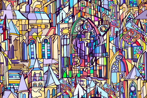 Fotografie, Obraz  Vector seamless pattern featuring fictional Gothic city architecture elements such as towers and stained glass windows