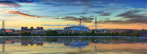 Canvas Prints Stadion The stadium and the cable-stayed bridge in Saint-Petersburg