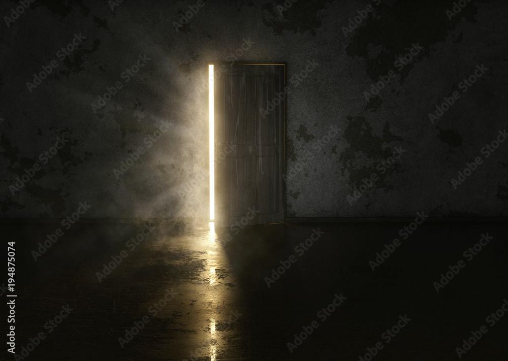 Fototapeta Mysteriöse Tür in dunklem Raum