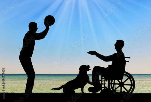 Valokuva  Silhouette of a disabled man in a wheelchair playing ball with a friend