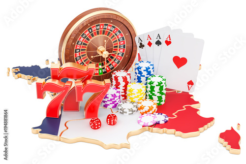 Foto  Casino and gambling industry in France concept, 3D rendering