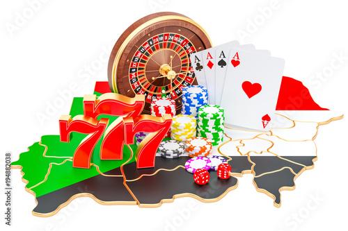 Foto  Casino and gambling industry in Sudan concept, 3D rendering